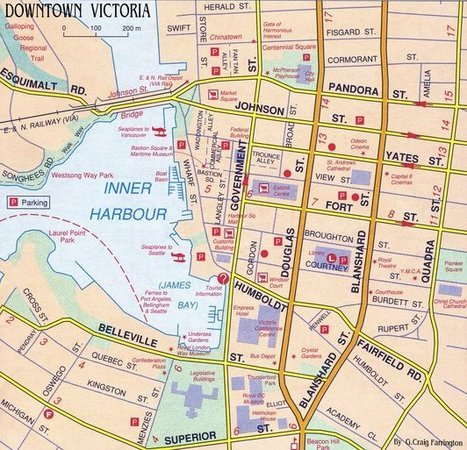 This map shows downtown Victoria